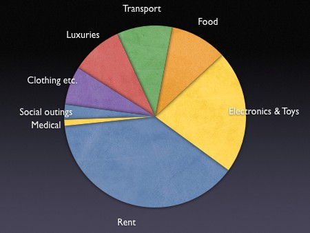 Pie chart breaking down my spending in the last 12 months